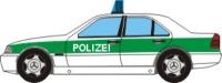 Papercraft recortable de un Mercedes clase C de la policía. Manualidades a Raudales.