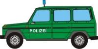 Maqueta 3D de un Mercedes clase g4 de la policía. Manualidades a Raudales.