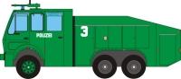 Maqueta 3D de un camión con cañón de agua de la policía. Manualidades a Raudales.